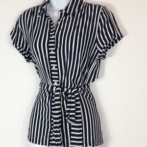 Tommy Hilfiger stripped short sleeve blouse.